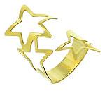 Anel de chapa ajustável folheado a ouro com estrelas vazadas