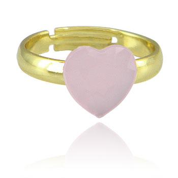 Anel infantil ajustável folheado a ouro c/ pedra acrílica em forma de coração