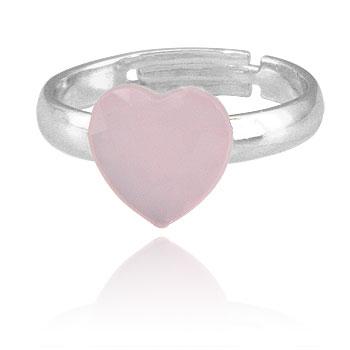 Anel infantil ajustável folheado a prata c/ pedra acrílica em forma de coração