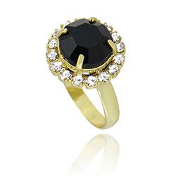 Anel folheado a ouro c/ pedra acrílica preta rodeada por pedras de strass - Clique para maiores detalhes