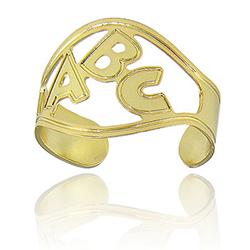 Anel infantil ajustável folheado a ouro c/ as letras ABC (formatura) - Clique para maiores detalhes
