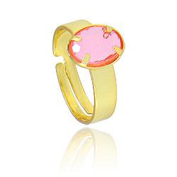 Anel infantil ajustável folheado a ouro c/ pedra acrílica oval - Clique para maiores detalhes