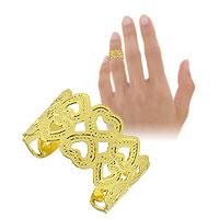 Anel de falange (ou infantil) ajustável folheado a ouro c/ adornos em forma de coração - Clique para maiores detalhes