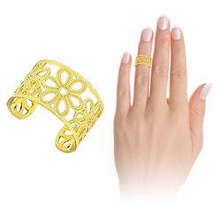Anel de falange (ou infantil) folheado a ouro c/ detalhes em forma de flor - Clique para maiores detalhes