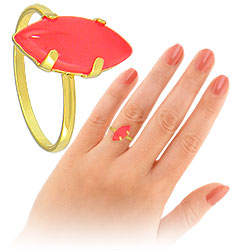 Anel folheado a ouro c/ pedra acrílica rosa neon - Clique para maiores detalhes