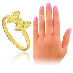 Anel de falange (ou infantil) folheado a ouro c/ adereço em forma de lacinho - Clique para maiores detalhes