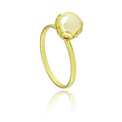 Anel folheado a ouro c/ pérola acrílica de 8 mm - Clique para maiores detalhes