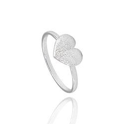 Anel folheado a prata c/ coração contendo detalhes pontilhados - Clique para maiores detalhes