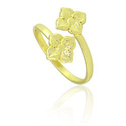 Anel ajustável folheado a ouro c/ duas florzinhas - Clique para maiores detalhes