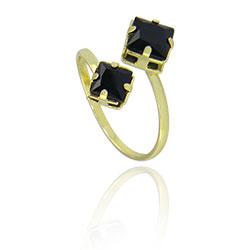 Anel ajustável folheado a ouro c/ pedras pretas - Clique para maiores detalhes