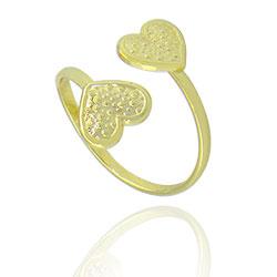 Anel ajustável folheado a ouro c/ corações - Clique para maiores detalhes