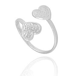 Anel ajustável folheado a prata c/ corações - Clique para maiores detalhes
