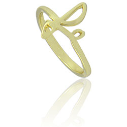 Anel folheado a ouro com a parte frontal formando a palavra Fé - Clique para maiores detalhes