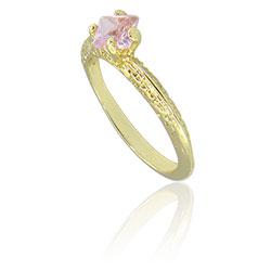 Anel folheado a ouro com pedra de vidro na cor rosa - Clique para maiores detalhes