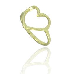 Anel folheado a ouro com a parte frontal em forma de coração - Clique para maiores detalhes