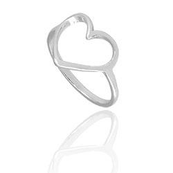 Anel folheado a prata com a parte frontal em forma de coração - Clique para maiores detalhes