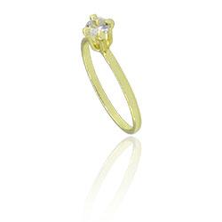 Anel solitário folheado a ouro com pedra de zircônia - Clique para maiores detalhes