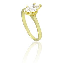 Anel folheado a ouro com pedra navete de zircônia - Clique para maiores detalhes