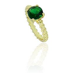 Anel folheado a ouro com pedra de vidro lapidado - Clique para maiores detalhes