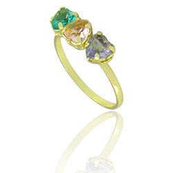 Anel folheado a ouro com pedras de vidro lapidado em forma de coração - Clique para maiores detalhes
