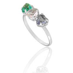 Anel folheado a prata com pedras de vidro lapidado em forma de coração - Clique para maiores detalhes