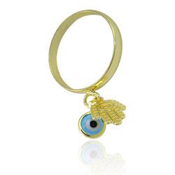 Anel folheado a ouro com pingentes Olho Grego e Mão de Fátima - Clique para maiores detalhes