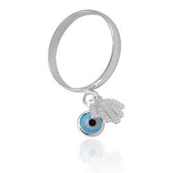 Anel folheado a prata com pingentes Olho Grego e Mão de Fátima - Clique para maiores detalhes