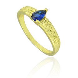 Anel folheado a ouro com pedra de vidro lapidado em forma de gota - Clique para maiores detalhes