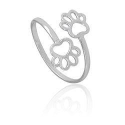 Anel ajustável folheado a prata com adereços em forma de patinhas - Clique para maiores detalhes