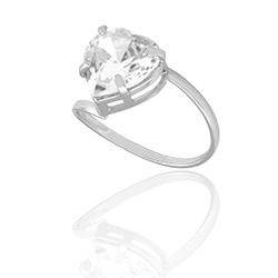 Anel folheado a prata com zircônia em forma de coração - Clique para maiores detalhes