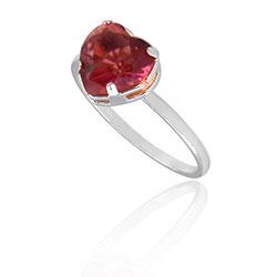 Anel folheado a prata com pedra de vidro lapidado em forma de coração - Clique para maiores detalhes