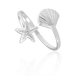 Anel ajustável folheado a prata com estrela do mar e concha - Clique para maiores detalhes