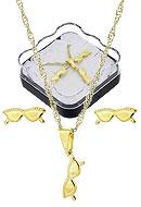 Conjunto folheado a ouro c/ corrente, brincos e pingente em forma de óculos (acompanha caixinha) - Clique para maiores detalhes
