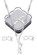Conjunto folheado a prata c/ corrente, brincos e pingente em forma de óculos (acompanha caixinha) - Clique para maiores detalhes