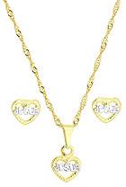 Conjunto folheado a ouro c/ corrente, brincos e pingente em forma de coração escrito Jesus c/ aplique de prata - Clique para maiores detalhes