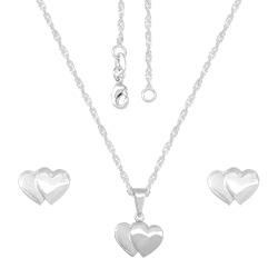 Conjunto folheado a prata com brincos e pingente em forma de coração e gargantilha - Clique para maiores detalhes