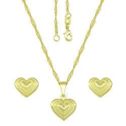 Conjunto folheado a ouro com brincos e pingente em forma de coração e gargantilha - Clique para maiores detalhes