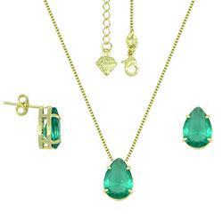 Conjunto folheado a ouro com corrente, brincos e pingente com pedra em forma de gota - Clique para maiores detalhes