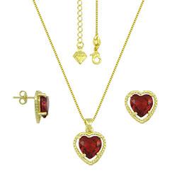 Conjunto folheado a ouro com corrente, brincos e pingente com pedra em forma de coração - Clique para maiores detalhes