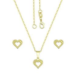 Conjunto folheado a ouro com brincos e pingente de coração vazado e gargantilha - Clique para maiores detalhes