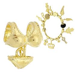 Berloque folheado a ouro em forma de biquíni (Pandora inspired) - Clique para maiores detalhes