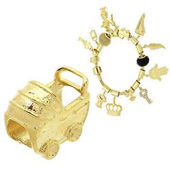 Berloque folheado a ouro em forma de carrinho de bebê (Pandora inspired) - Clique para maiores detalhes
