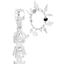 Berloque folheado a prata em forma de menino c/ strass (Pandora inspired) - Clique para maiores detalhes