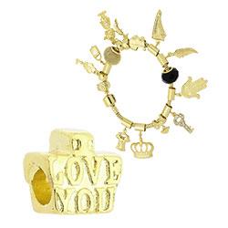 Berloque folheado a ouro c/ detalhe escrito I Love You (Pandora inspired) - Clique para maiores detalhes