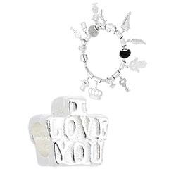 Berloque folheado a prata c/ detalhe escrito I Love You (Pandora inspired) - Clique para maiores detalhes
