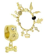 Berloque folheado a ouro em forma de cachorro (Pandora inspired) - Clique para maiores detalhes