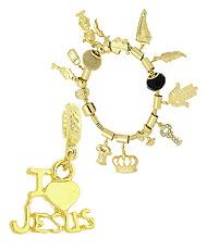 Berloque I LOVE JESUS folheado a ouro (Pandora inspired) - Clique para maiores detalhes