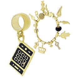 Berloque folheado a ouro em forma de smartphone c/ resina (Pandora inspired) - Clique para maiores detalhes