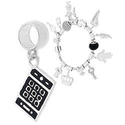 Berloque folheado a prata em forma de smartphone c/ resina (Pandora inspired) - Clique para maiores detalhes