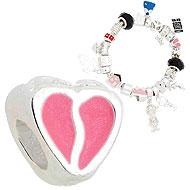 Berloque folheado a prata em forma de coração c/ detalhes resinados (Pandora inspired) - Clique para maiores detalhes